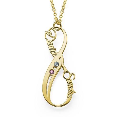 Collar Infinito con Nombre Vertical con Piedra de la fortuna Chapado en Oro