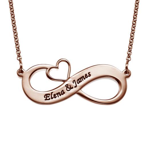 Collar Infinito con Nombres y Corazón Calado - Chapa de Oro Rosa