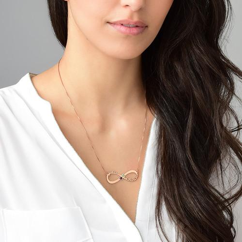 Collar Infinito con Nombres y Piedras de Nacimiento – Chapa de Oro Rosa - 2