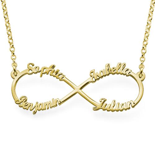 Collar Infinito de 4 Nombres Chapado en Oro