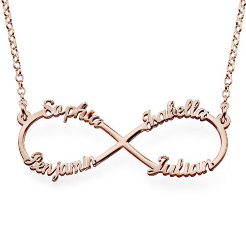 Collar Infinito de 4 nombres en Chapa de Oro Rosa