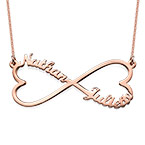 Collar Infinito de Corazón con Nombres - Chapa de Oro Rosa