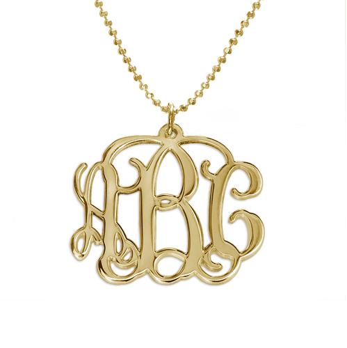 Collar Monograma  de Plata Chapada en Oro 18k