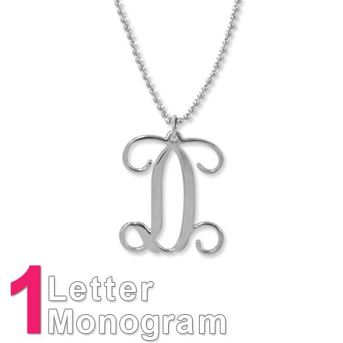 Collar Monograma de plata de ley - 1
