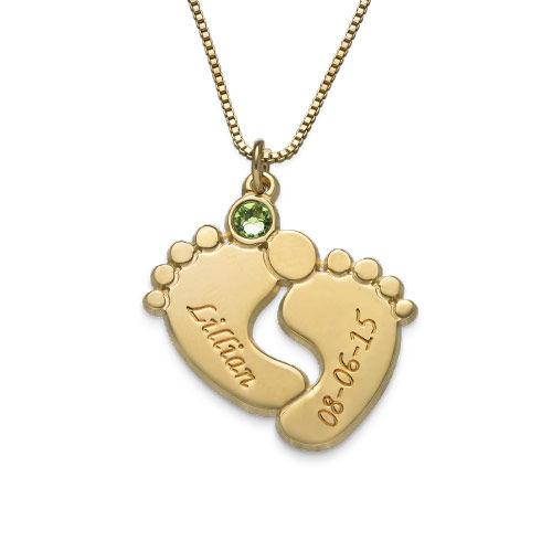 Collar Personalizado de Piecitos de Bebé Chapado en Oro