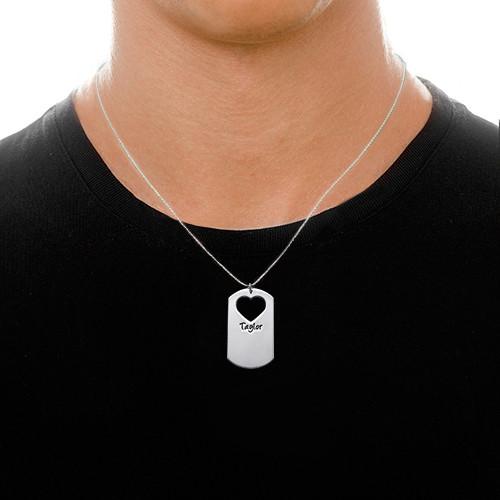 Collar Placa Militar de Pareja con Corazón Cortado - 3