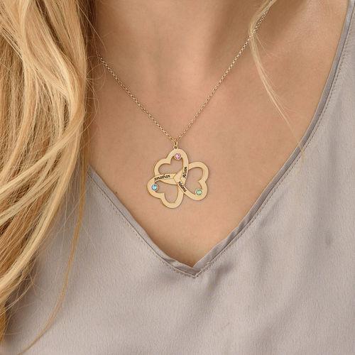 8918d9f99ab5 ... Collar Triple Corazón Personalizable Chapado en Oro 18K - 3 ...