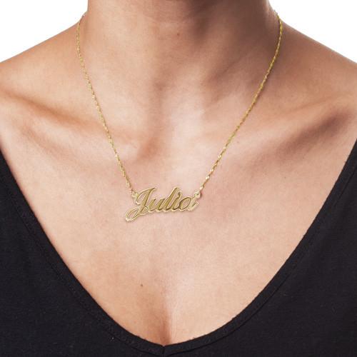 Tener cuidado de cupón doble fina artesanía Collar con Nombre Fuente Clásica en Oro 14k