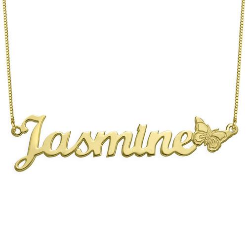 Collar con Nombre y Mariposa en oro macizo de 10K