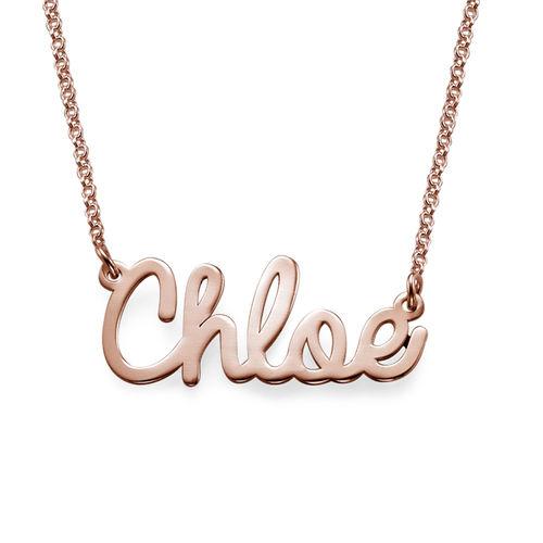 Collar con Nombre en Cursiva Chapado en Oro Rosa