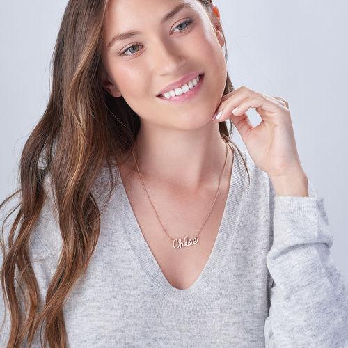 Collar con Nombre en Cursiva Chapado en Oro Rosa - 1