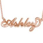 """Collar con nombre Estilo """"Carrie"""", plata de ley chapada en oro Rosa"""