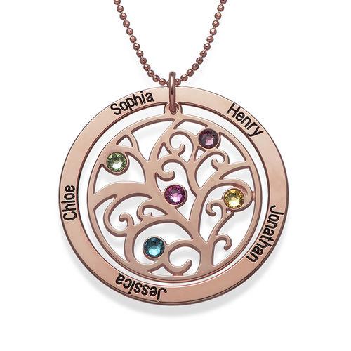 Collar de Árbol de la Vida con Piedras de Nacimiento con Chapa de Oro Rosa - 1