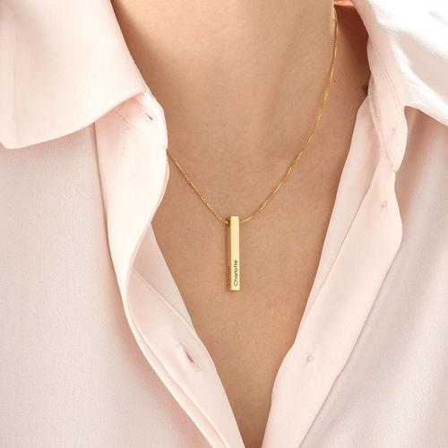 Collar de Barra Grabado 3D Chapado en Oro - 4