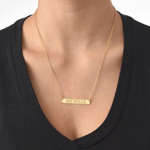 Collar de Barra Grabado en chapa de Oro de 18k - 1