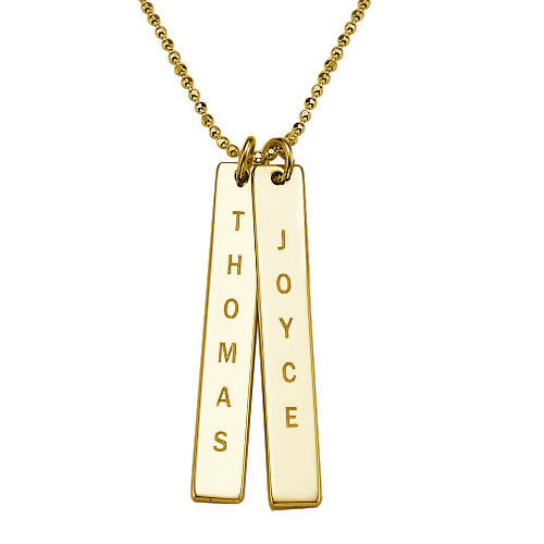 a240ca3835b2 Collar de Barra Vertical Grabado en oro macizo de 10k ...