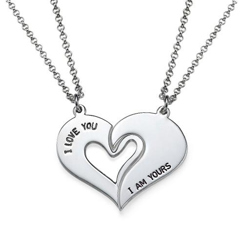 Collar de Corazón Divisible para parejas en plata - 1