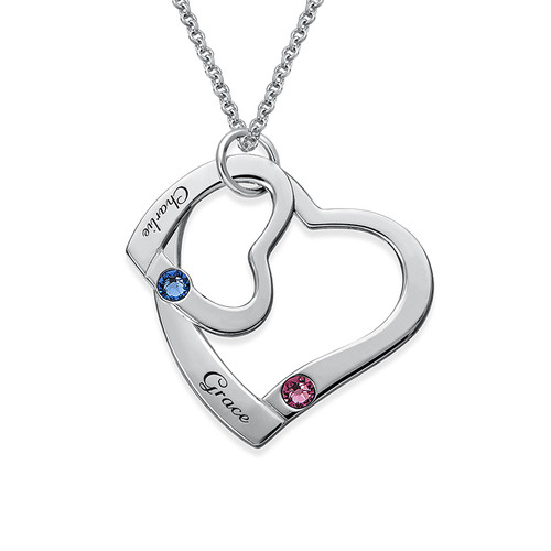 Collar de Corazón Flotante con Piedra de Nacimiento - 1