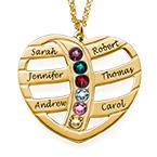 Collar de Corazón Grabado con Piedras Centrales Chapado en Oro 18K