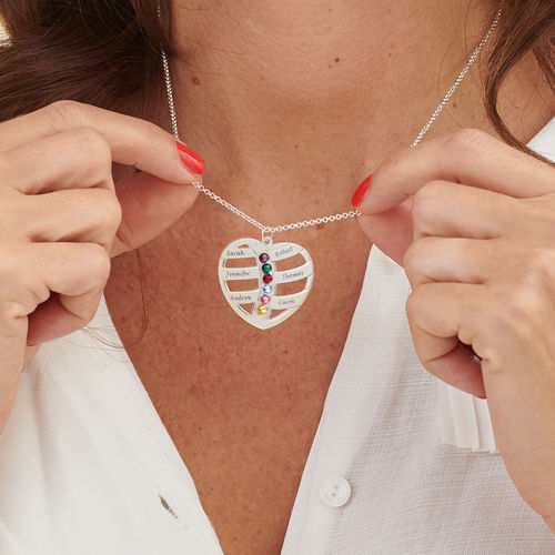 Collar de Corazón Grabado con Piedras Centrales - 3