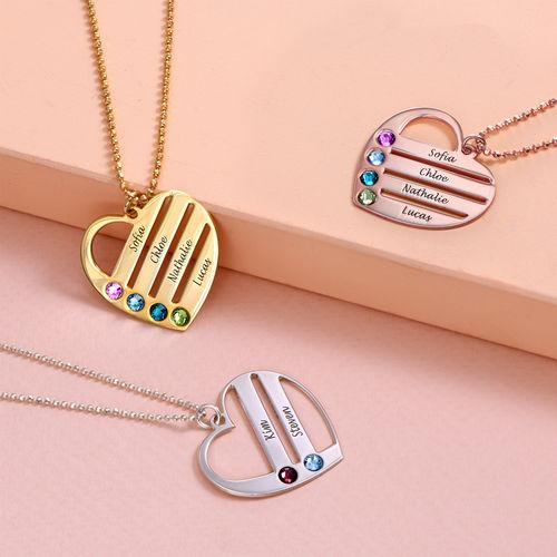 Collar de Corazón con Nombres y Piedras Chapado en Oro 18k - 2