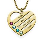 Collar de Corazón con Nombres y Piedras Chapado en Oro 18k