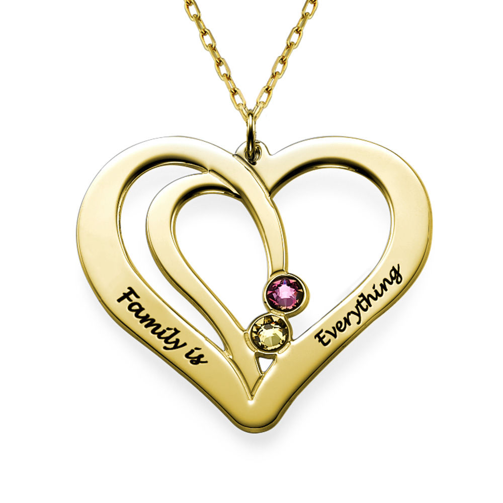 Collar de Corazones Grabados con Piedras en oro macizo de 10k - 1