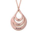 Collar de Gota de la Familia Grabada en Chapa de Oro Rosa