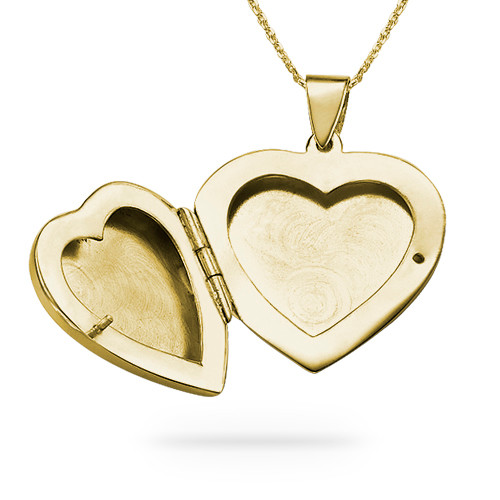 Collar de Medallón de Corazón Grabado en Chapa de Oro de 18K - 1