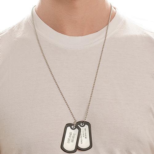 Collar de Placas Militares de Acero Inoxidable con Etiquetas - 2