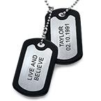 Collar de Placas Militares de Acero Inoxidable con Etiquetas