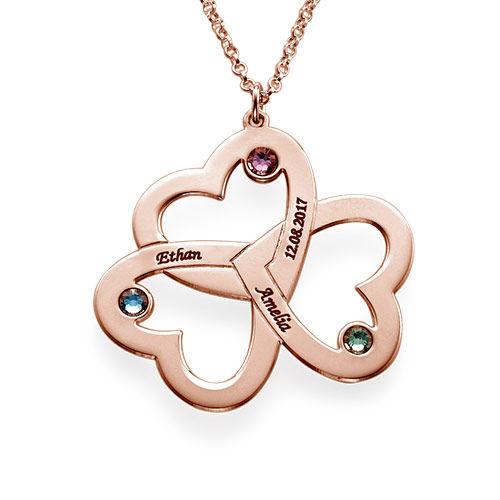 Collar de Triple Corazón en Chapa de Oro Rosa - 1