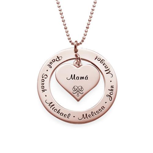 Collar de la Abuela o de la Mama con nombres – Chapa de Oro Rosa - 1