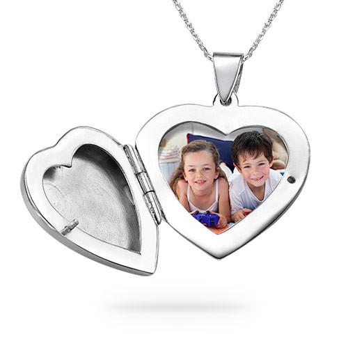 Collar relicario corazón grabado, Plata de Ley - 1