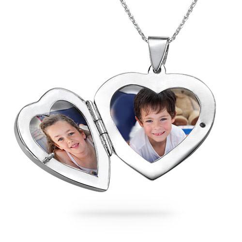 Collar relicario corazón grabado, Plata de Ley - 2