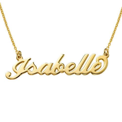 """Collar con nombre Estilo """"Carrie"""", plata de ley chapada en oro 18k - 1"""