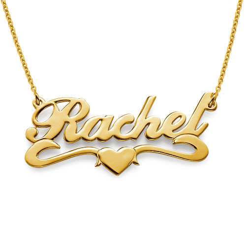 Collar con nombre y corazón, Plata de ley chapada en oro 18k