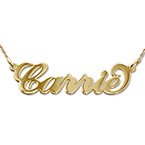 """Collar pequeño con nombre estilo """"Carrie"""" de oro 14k"""