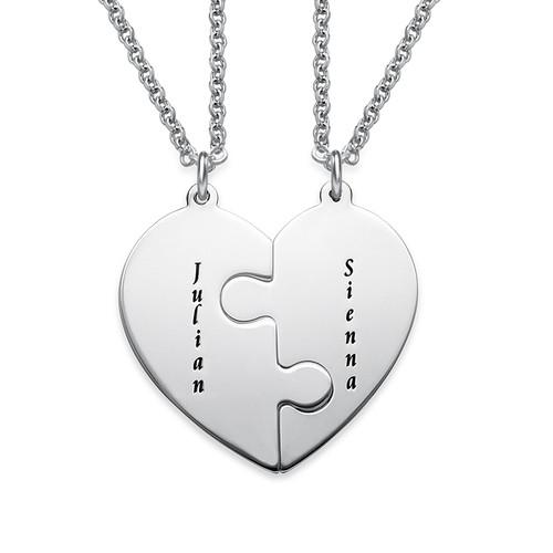 El Set de Collar de Corazón con pieza de rompecabezas con grabado - 1