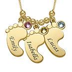 Joyería de Mamá - Collar de los pies del bebé Chapado en Oro
