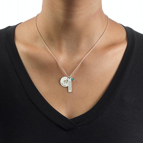 Joyería para Nueva Mamá-Collar de Piecitos de Bebé con Barra y Piedra - 2