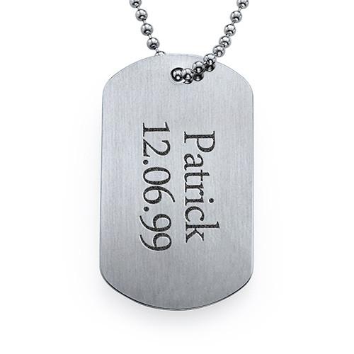 Placa militar grabada de acero inoxidable micollarconnombre - Placa de acero inoxidable ...