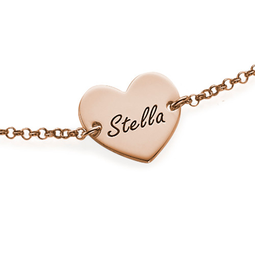 Pulsera Corazón Parejas Grabada Chapada en Oro Rosa 18K - 1