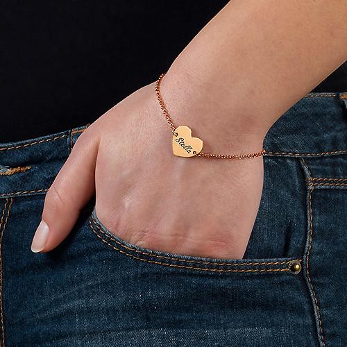 Pulsera Corazón Parejas Grabada Chapada en Oro Rosa 18K - 2