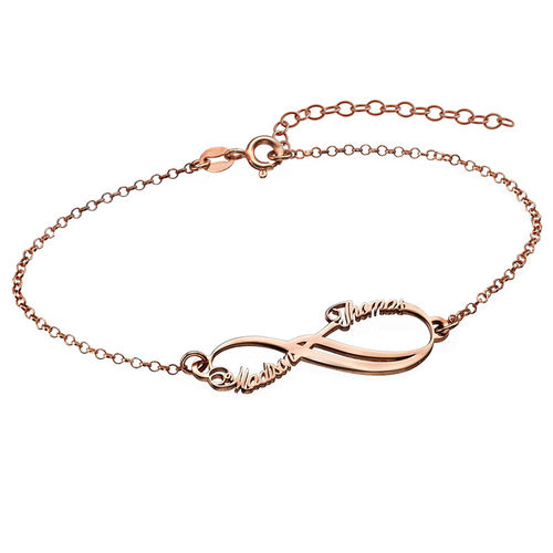 90f57c8e295e Pulsera Infinito con Dos Nombres chapada en oro rosa