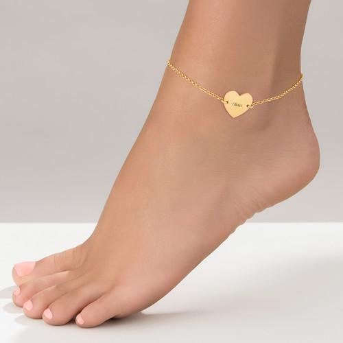 Tobillera de Corazón Chapada en Oro - 1