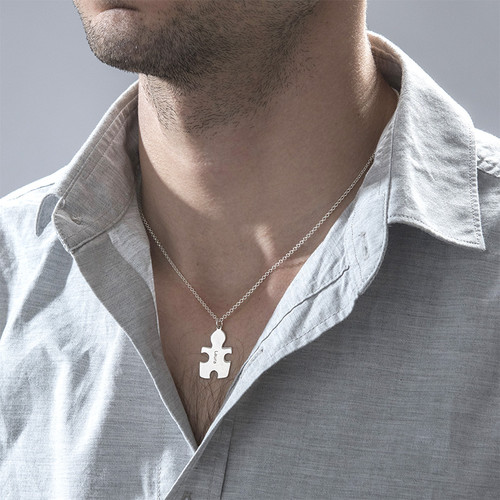 Collar Rompecabezas de Plata de Ley - 5