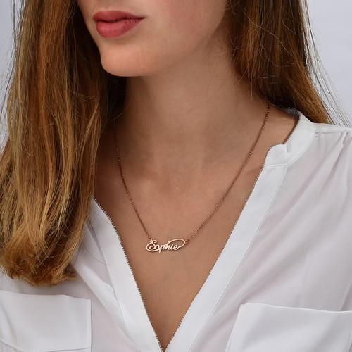 Collar con Nombre  Estilo Infinito chapado en Oro Rosa de 18k - 1