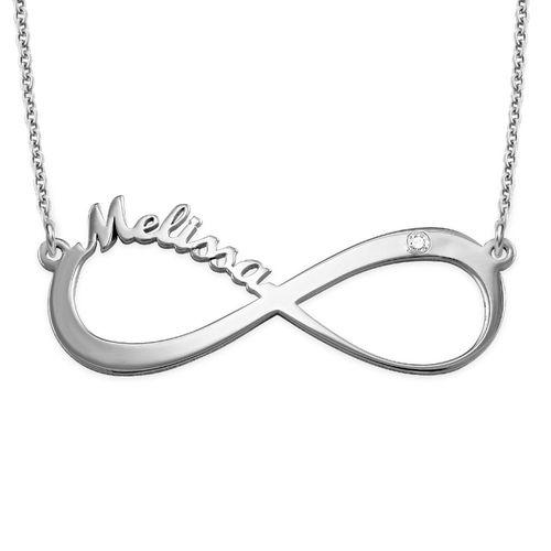 Collar infinito con nombre en plata de ley con diamante - 1