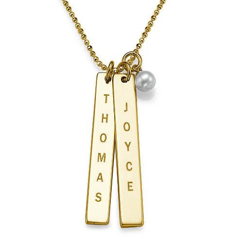 ddbb69908721 Collar de Barra Vertical Grabado en Chapa de Oro de 18k ...
